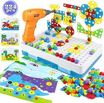 yoptote Juguetes Montessori Puzzles 3D Mosaicos Infantiles Juguetes Educativos con Taladro Eléctrico Desmontable Bloques Construccion Niños Herramientas Regalos para Niños 3 4 5 6 Años (224 PCS): Amazon.es: Juguetes y juegos