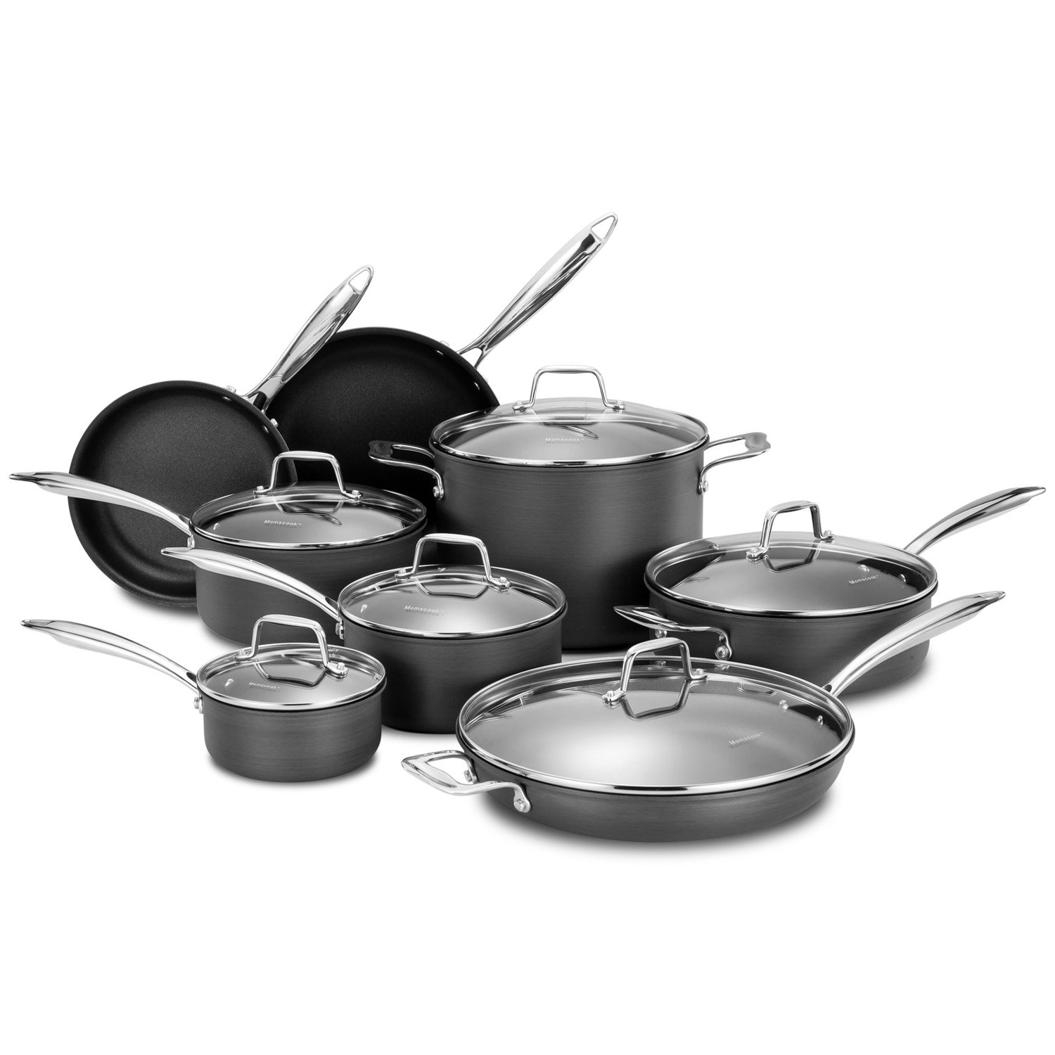 Momscook Nonstick Cookware Set Durable Hard-Anodized Aluminum Pots and Pans Set with Tempered-glass Lids, Oven Safe, 14-Piece