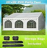 20'x20' PVC Party Tent - Heavy Duty Wedding Canopy Gazebo Carport - with Storage Bags - By DELTA Canopies