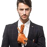 Nappaglo Mannen Italiaanse Nappa lederen handschoenen Touchscreen lamsvacht warme handschoenen met lijnen van hit kleur