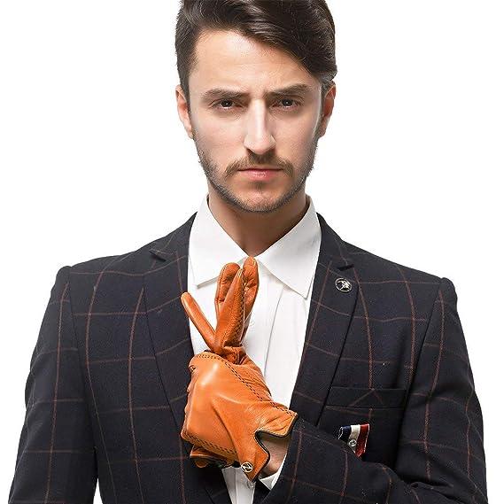 Nappaglo Herren italienisches Lammfell Nappaleder Handschuhe Touchscreen  Warm Handschuhe  Amazon.de  Bekleidung b5beba322d