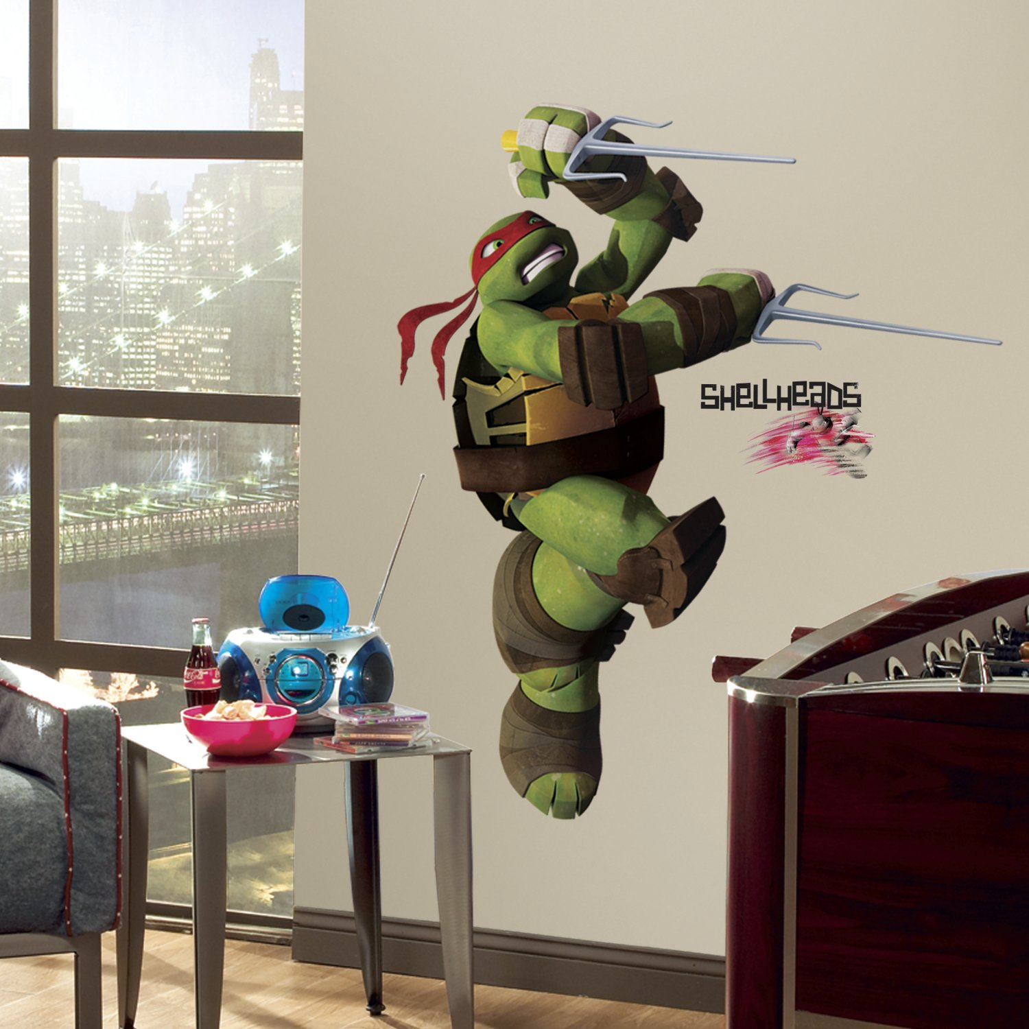 Roommates rmk2251gm teenage mutant ninja turtles ralph peel and roommates rmk2251gm teenage mutant ninja turtles ralph peel and stick giant wall decals decorative wall appliques amazon amipublicfo Image collections