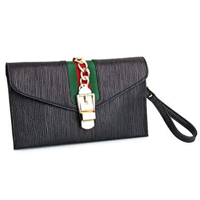 b6c6ad5494be Designer Evening Envelope Clutch Bags Wristlet Purse Cross Body Bag with  Chain (Black)