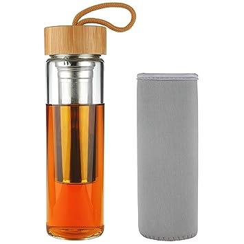 SHBRIFA TÉ Botella de Agua de Vidrio Borosilicato con Tapa de Bambú 500 ML