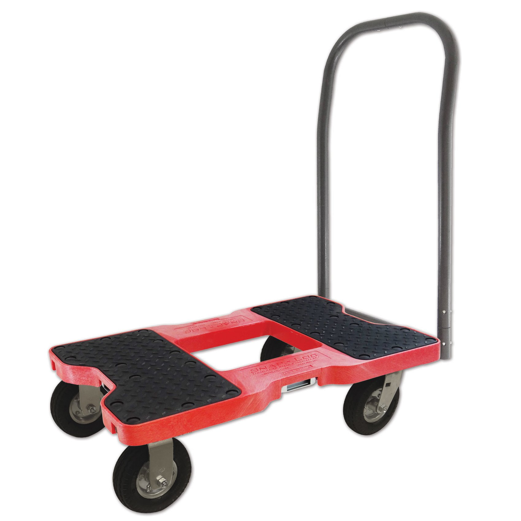SNAP-LOC AIR-RIDE PUSH CART DOLLY RED with 1500 lb Capacity, Steel Frame, 6 inch Casters, Push Bar and optional E-Strap Attachment