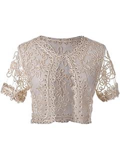 2a2107146082 Anna-Kaci Demure Elegance Crochet Beaded Mesh Lace Evening Cover Up Bolero  Shrug