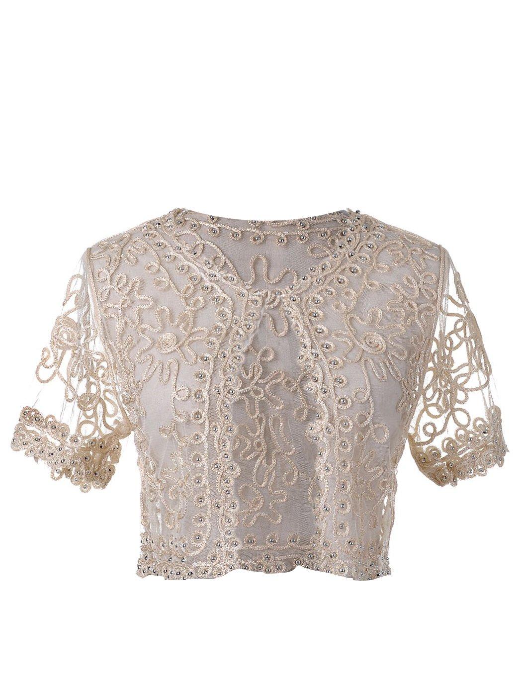 Anna-Kaci Demure Elegance Crochet Beaded Mesh Lace Evening Cover Up Bolero Shrug, Beige, Large