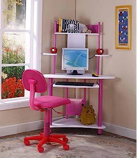 Kings Brand Pink Finish Corner Workstation Kids Childrenu0027s Computer Desk