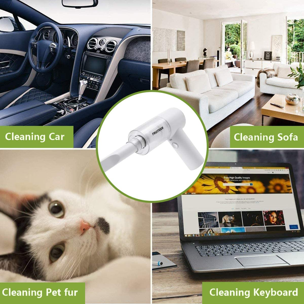 FRUITEAM Handheld Vacuum Cleaner Cordless USB Rechargeable Vacuum Cleaner with Strong Suction Power Suitable for Home and car Portable Keyboard Vacuum Cleaner with LED Light