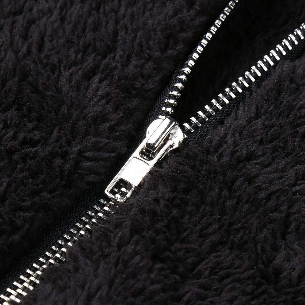 iDWZA Women Warm Heat Fluffy Lapel Zip up Open Front Black Jacket Coat Outwear