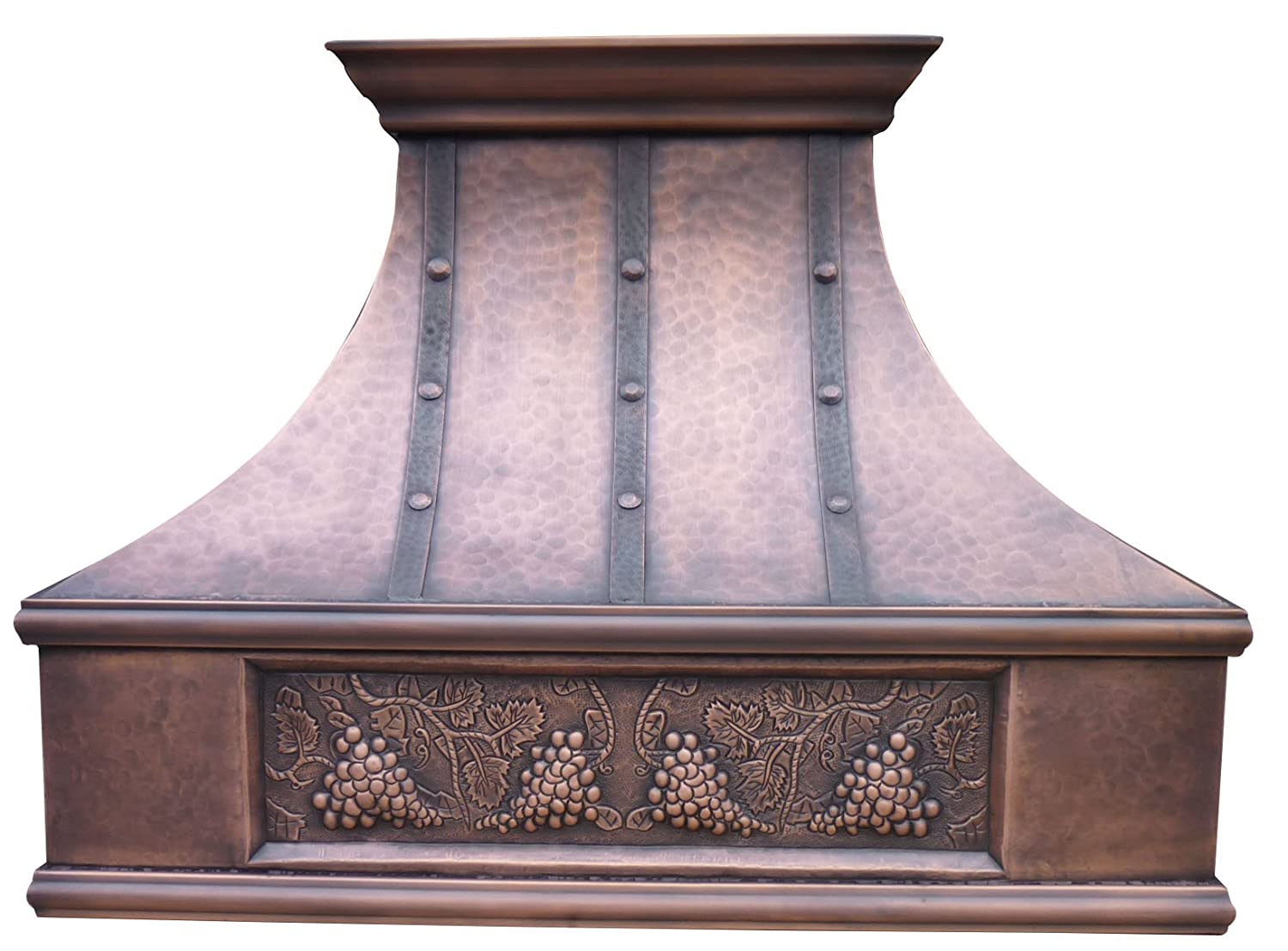 Copper Range Hood Cover with Commercial Grade Stainless Steel Vent, Inlcudes Fan Motor, Light, and Baffle Filter, Elegant Design with Custom Apron Design Wall Mount 30 x 30 inches