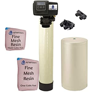 IRON Pro 2 Combination water softener iron filter Fleck 5600SXT digital metered valve for whole house (48,000 Grains, Almond)