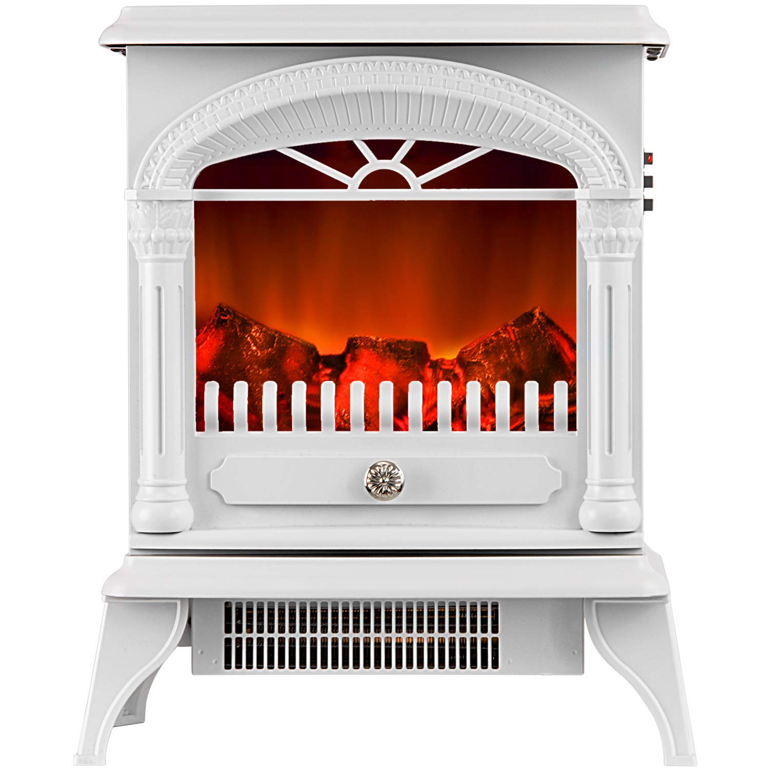 Leisure Zone Electric Stove Heater Fire Place/Fireplace 1850W Portable - W41.5 X D21 X H48cm (White)