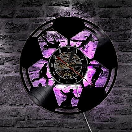 GuoEY Balón de fútbol modelo Reloj de pared no marcando CON LED LUZ NOCTURNA Relojes Vinilos