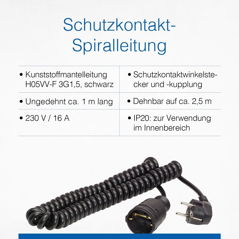 as  Schwabe Schutzkontakt-Spiralleitung von 1 m auf 2,5 m dehnbares Spiral-Kabel