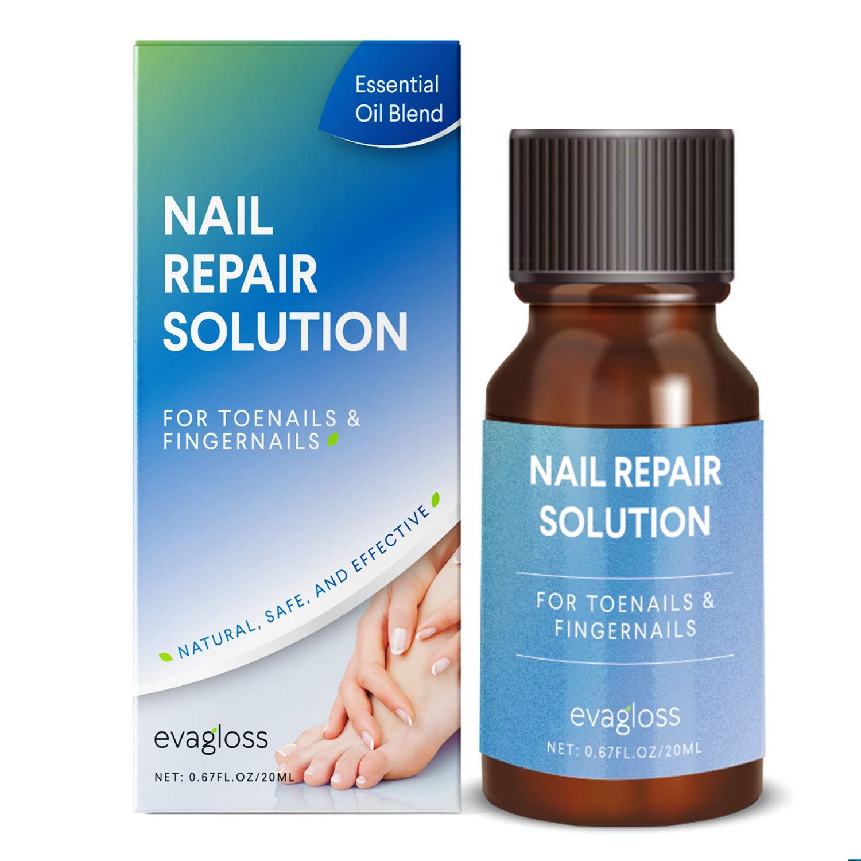 Evagloss Natural Nail Repair Solution - Kills Toenail - Fingernail Fungus, and Restores Discolored - Damaged Nails by Evagloss