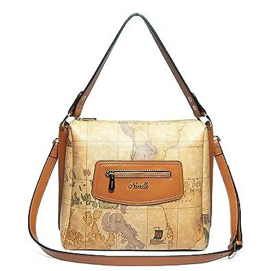 Leather tote handbag shoulder bag world map design amazon leather tote handbag shoulder bag world map design gumiabroncs Images