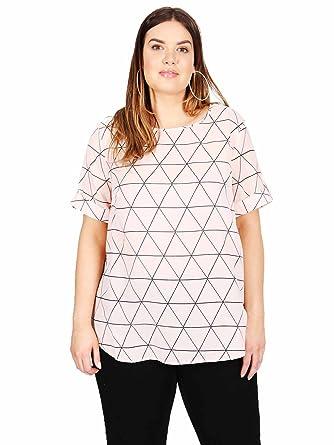 117bcce28d9 Koko Women s Plus Size Pink Geometric Print Short Sleeve Blouse (16 ...