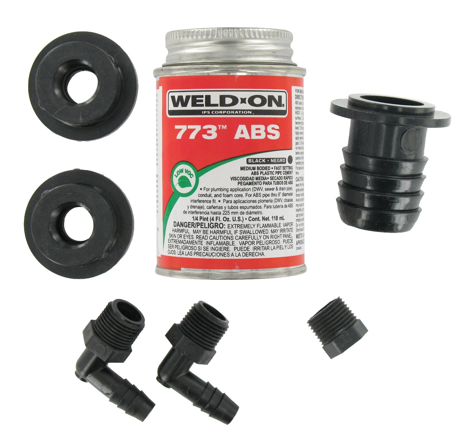 Valterra Black RK908 ABS Tank Kit-Straight Barbed Fill with Cement by Valterra