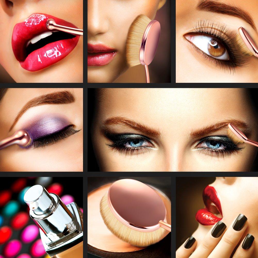Trèsutopia Lacaresse ovales Make-up Pinsel Set, 10-teilig, Make-up Bürsten, Kosmetik Pinsel, Schminkenpinsel für Foundation, Eyeliner, Lidschatten, Puder, Concealer, Augenbrauen