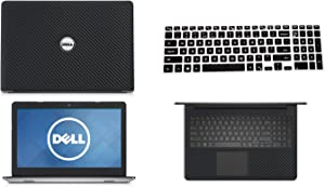Black Carbon Fiber skin decal wrap skin Case + Semi Black Keyboard Cover for Dell Inspiron 15 5558 5559 15.6