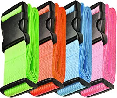 4 Colors 10485328 4-Pack Luggage Straps Suitcase Belt and Tag Travel Bag Accessories