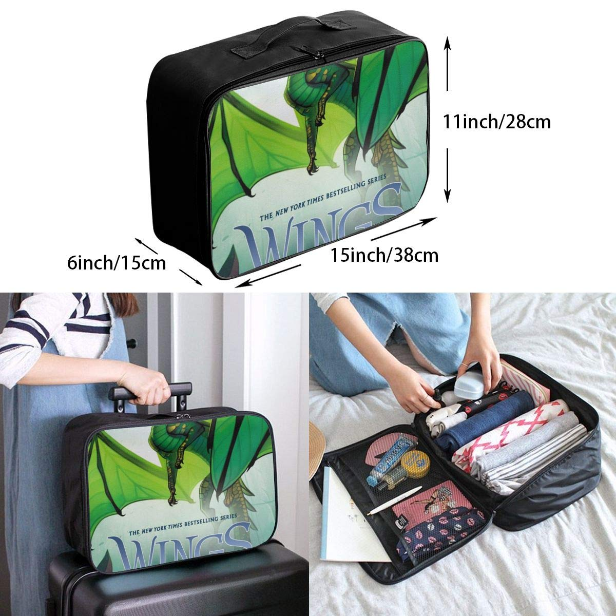 Wi-ngs Of Fi-re Customize Casual Portable Travel Bag Suitcase Storage Bag Luggage Packing Tote Bag Trolley Bag