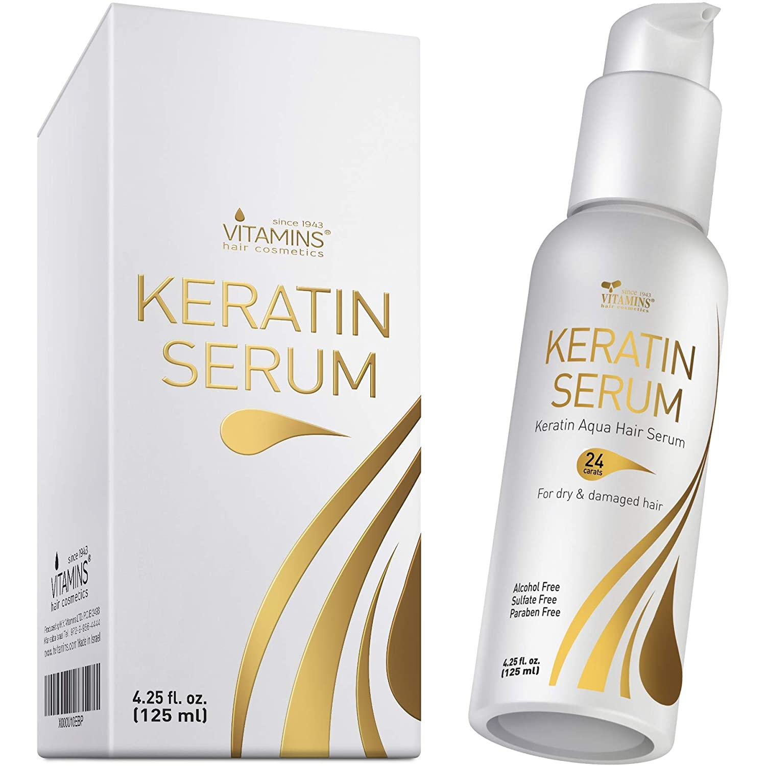 Amazon Com Vitamins Keratin Protein Hair Serum Weightless Anti Frizz Treatment Softens And Repairs Frizzy Dry Damaged Hair Thermal Heat Protectant With Shine And Gloss Beauty