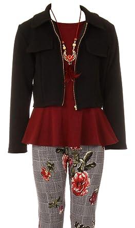 1f4f0a342ae Amazon.com: Little Girl Jackets Necklace Shirt Tank Pant Legging Girls 4  Pieces Clothing Set: Clothing