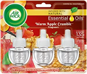 Air Wick plug in Scented Oil 3 Refills, Warm Apple Crumble, Holiday scent, Holiday spray, (3x0.67oz), Essential Oils, Air Freshener, Packaging May Vary