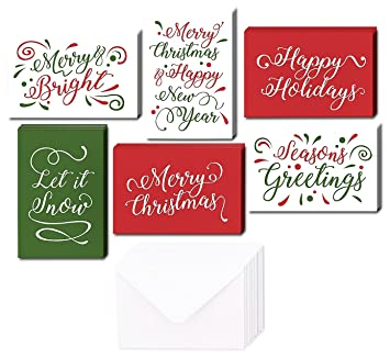 Amazon.com : 48 Pack of Christmas Winter Holiday Family Greeting ...