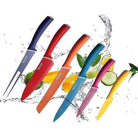 hecef Juego de Cuchillos de Colores para la Cocina - los Cuchillos Incluyen el Cuchillo de Cocina, Cuchillo de Pan, Cuchillo de Tenedor, Cuchillo de ...
