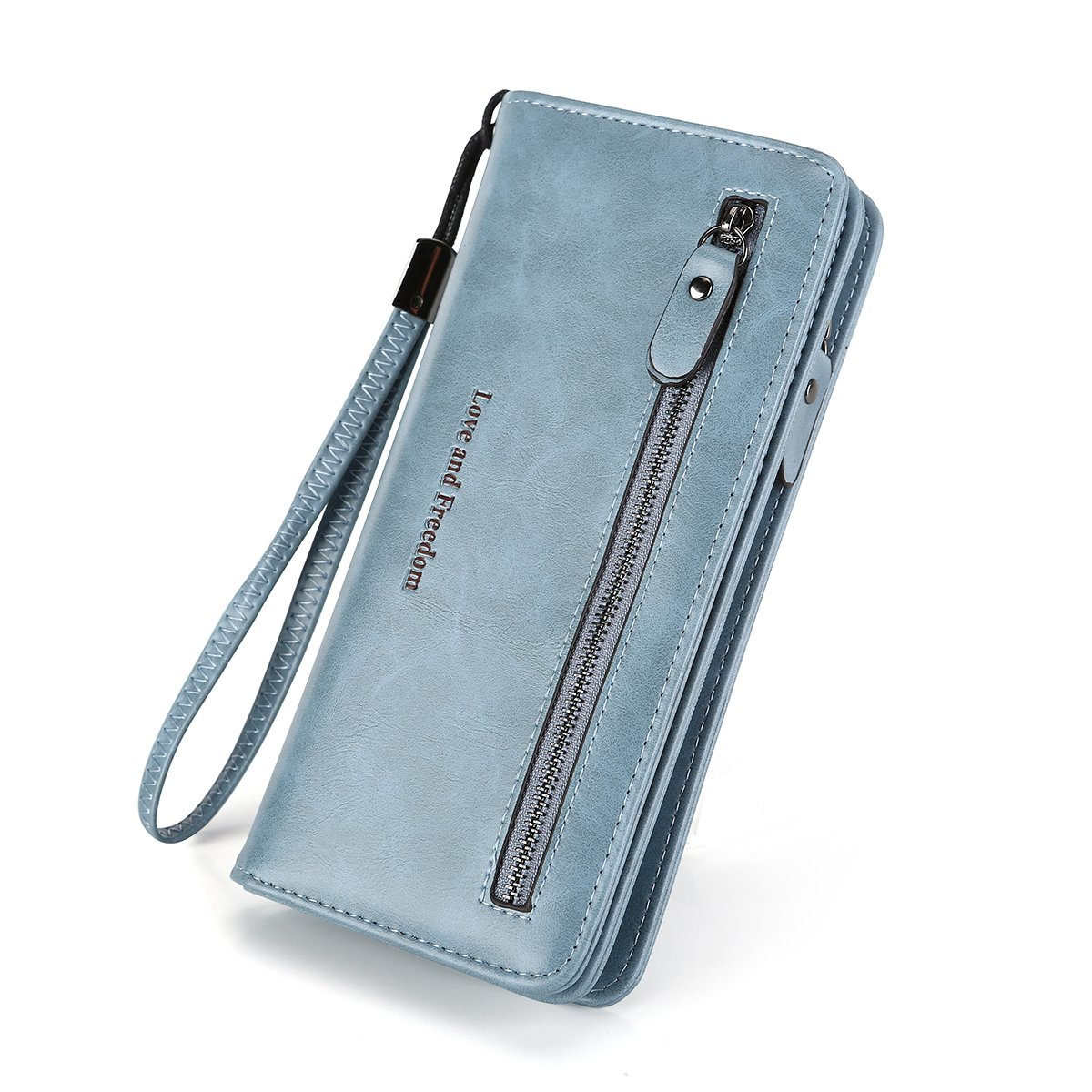 Women RFID Blocking Wallet Leather Zipper Around Clutch Large Capacity Travel Purse Wristlet-Laimi duo (light blue)