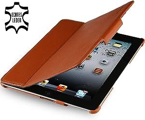StilGut Magic Case, custodia in vera pelle con funzione di supporto per Apple iPad 2 Wifi + 3G, cognac