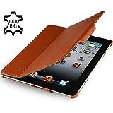 Stilgut Magic Case extrem flaches Etui aus echtem Leder für Apple iPad 2 Wifi + 3G mit Standfunktion in cognac