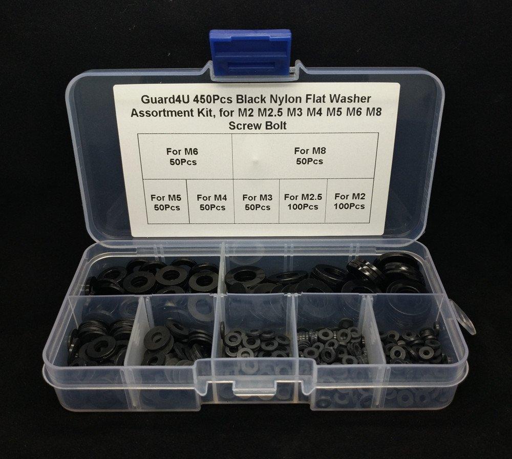 Amazon.com: Guard4U 450Pcs Black Nylon Flat Washer Assortment Kit ...