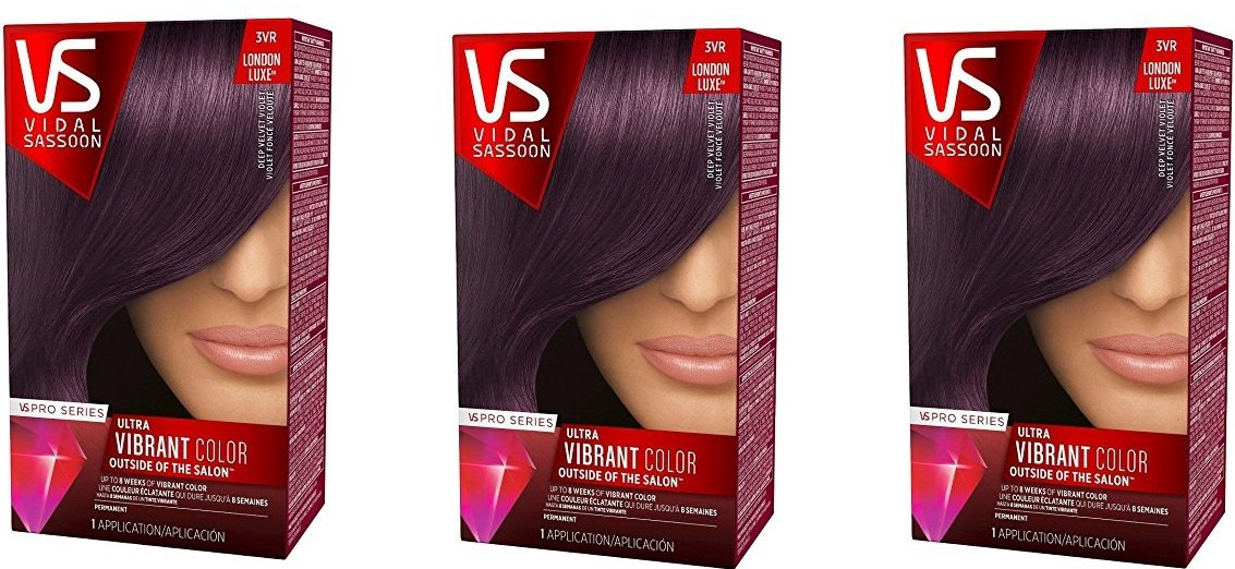 Vidal Sassoon Pro Series Hair Color 3vr Deep Velvet Violet (Pack of 3, 3vr Deep Velvet Violet) by Vidal Sassoon