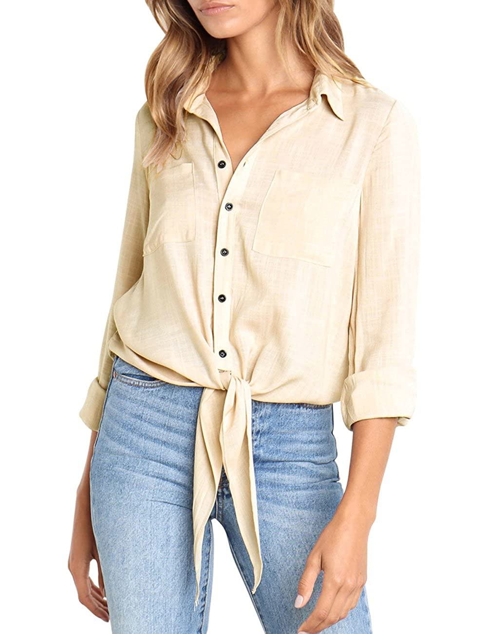 b7234dfd Women\'s 3/4 Sleeve Solid Tie Front Pockets Button Down Shirts Blouse Tops  Casual collared blouse features 3 quarter rolled up cuffed sleeves
