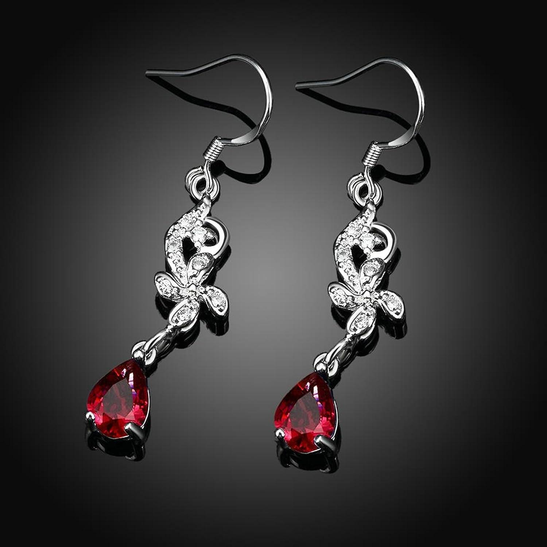 Gnzoe Fashion Jewelry 18K Silver Plated Drop Earrings Fishhook Windmill Tear Drop Red Crystal Eco Friendly