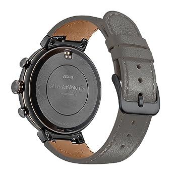 Kartice pour Asus ZenWatch 3 Band, Vintage Cuir véritable Smart Bracelet de montre Bracelet de remplacement avec Boucle Fermoir en métal sécurisé pour ASUS ...