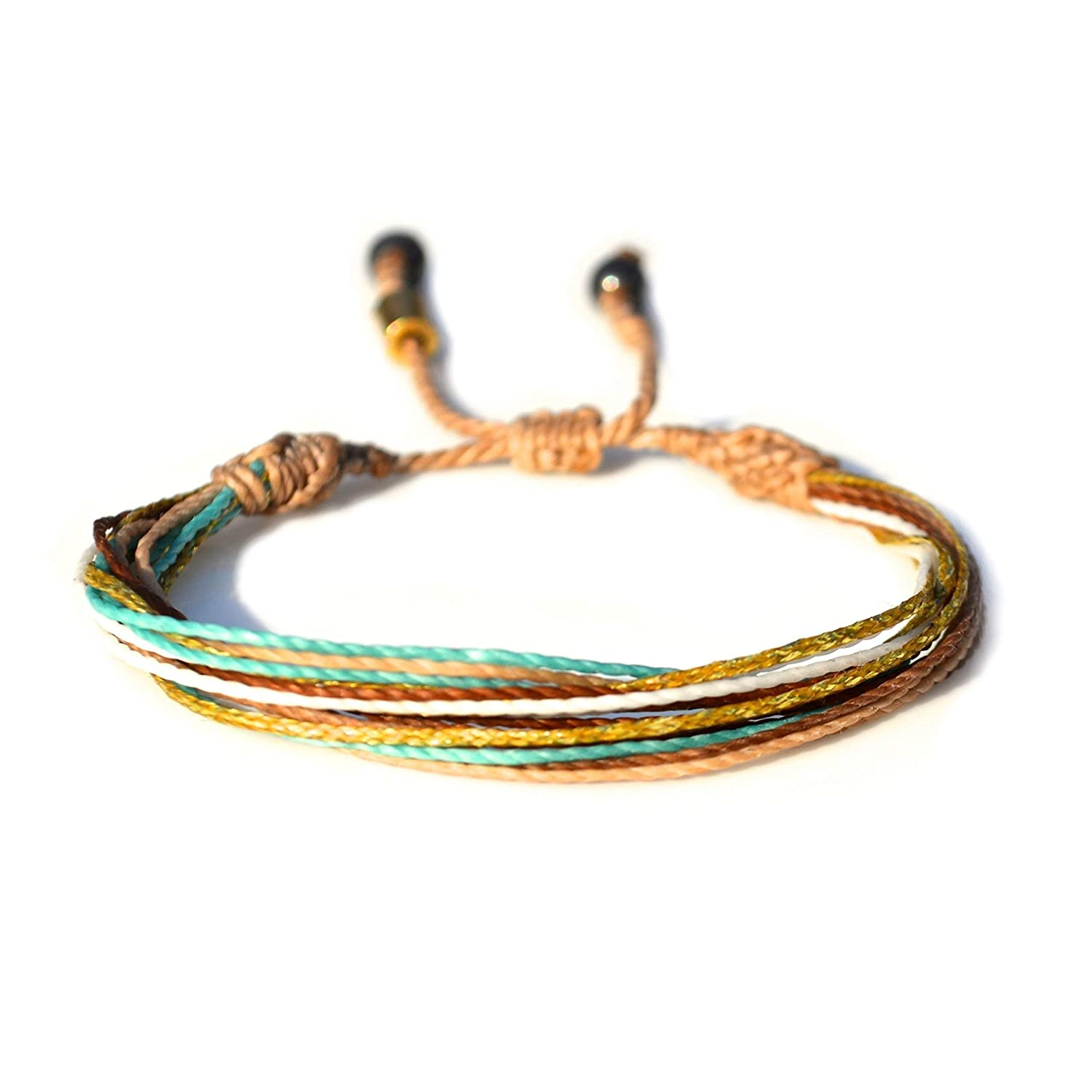 Surfer String Bracelet with Hematite Stones in Tan, Metallic Gold, Aqua, White, and Rust: Handmade Unisex Rope Friendship Beach Adjustable Surf Bracelet for 6-7