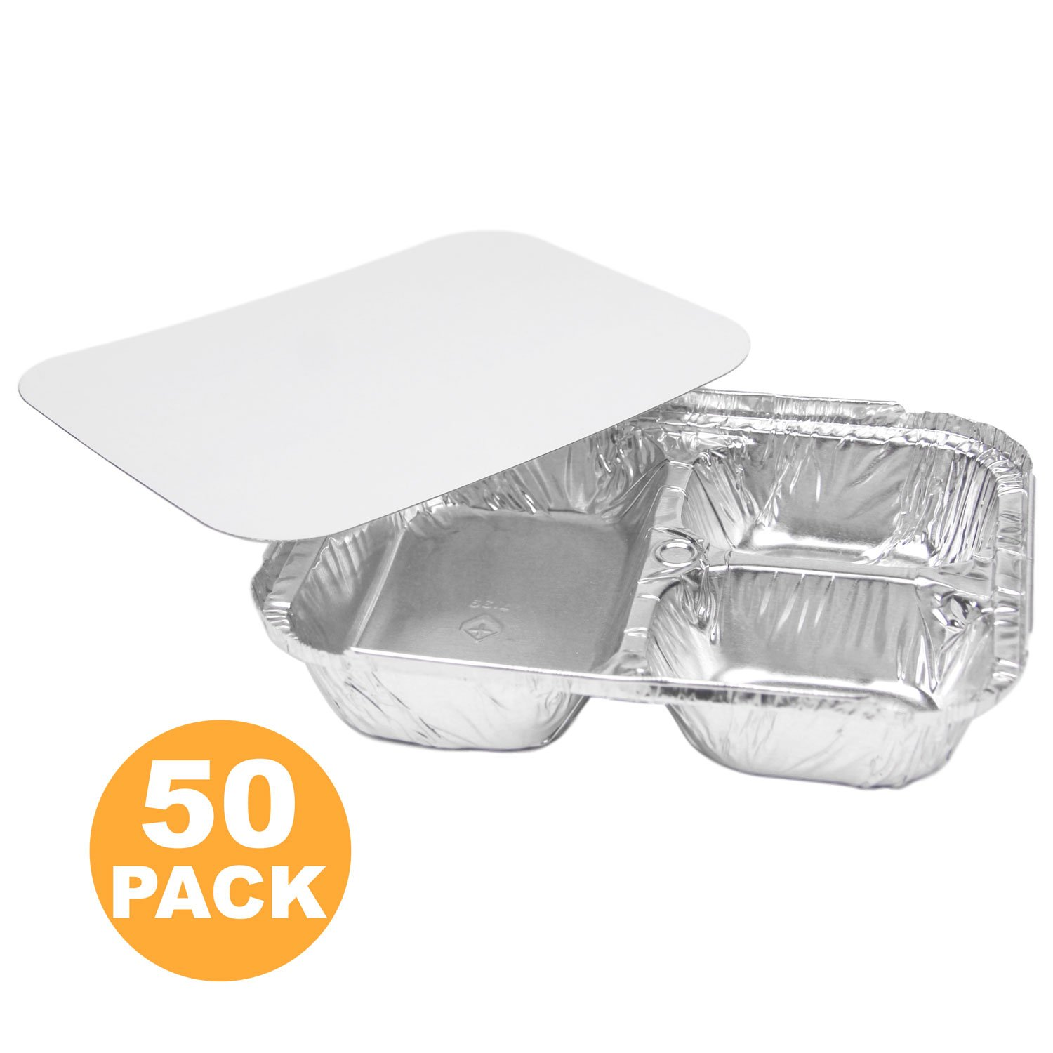 "3 Compartment 8.5 x 6.5 x 1.5"" Rectangular Disposable Aluminum Foil Pan Take Out Food Containers with Flat Board Lids, Hot Cold Freezer Oven Safe [50 Pack]"