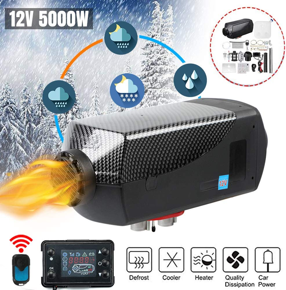 5KW 12V Diesel Air Heater, Quiet Space Air Heaters Kit w/10L Tank LCD Thermostat Monitor Muffler Remote Control for Bus Van Boat Trucks Camper Trailer RV