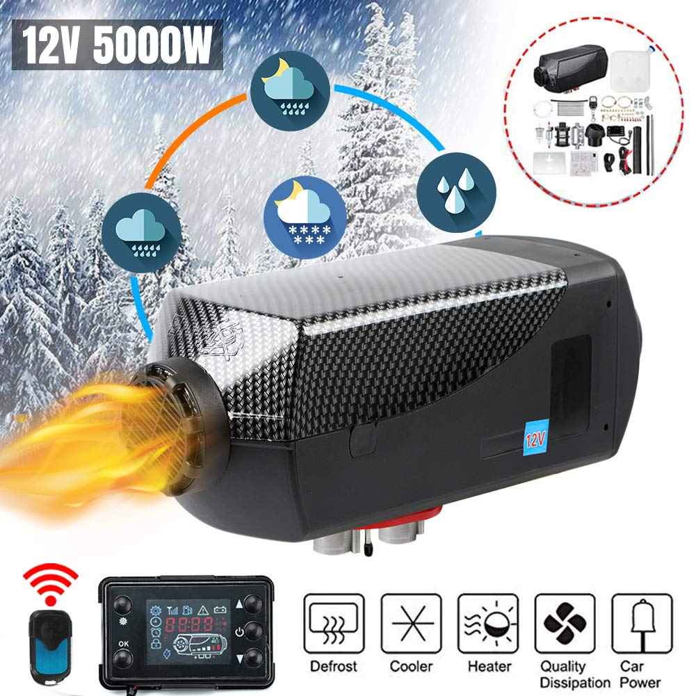 Happybuy Diesel Heater 12V Diesel air Heater Muffler 5KW Diesel Air Heater with Remote Control /& LCD Thermostat Monitor for Car Trucks Motor-Home Boat and Bus
