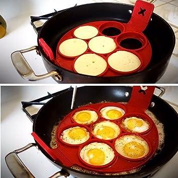 Molde de silicona brillante antiadherente con 7 agujeros para hacer tortitas y huevos: Amazon.es: Hogar