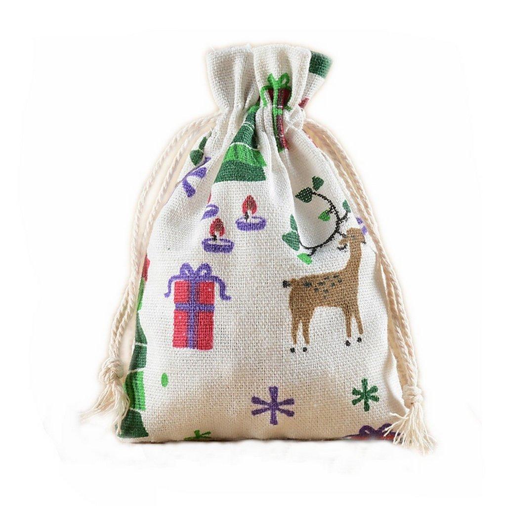 12 Christmas Reindeer Burlap Drawstring Bags Party Favors Giveaways Seasonal Decor- 10x14cm X-advanture X-00588-10C