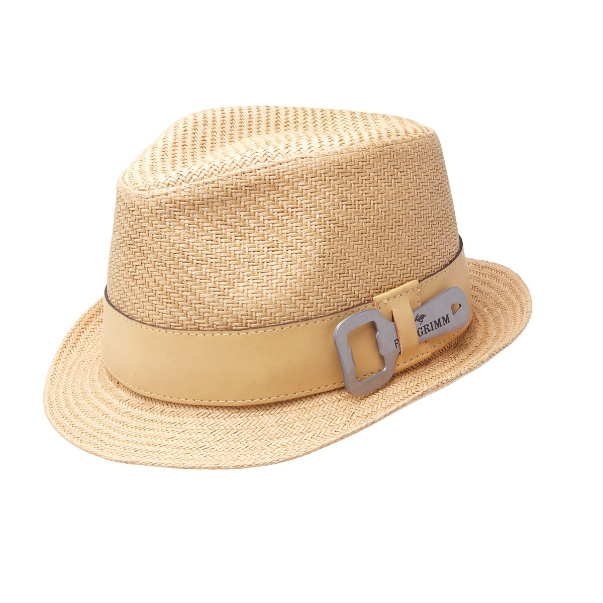 f49b71597e5 Amazon.com: Peter Grimm Luke Toyo Straw Fedora Bottle Opener Hat - Black:  Clothing