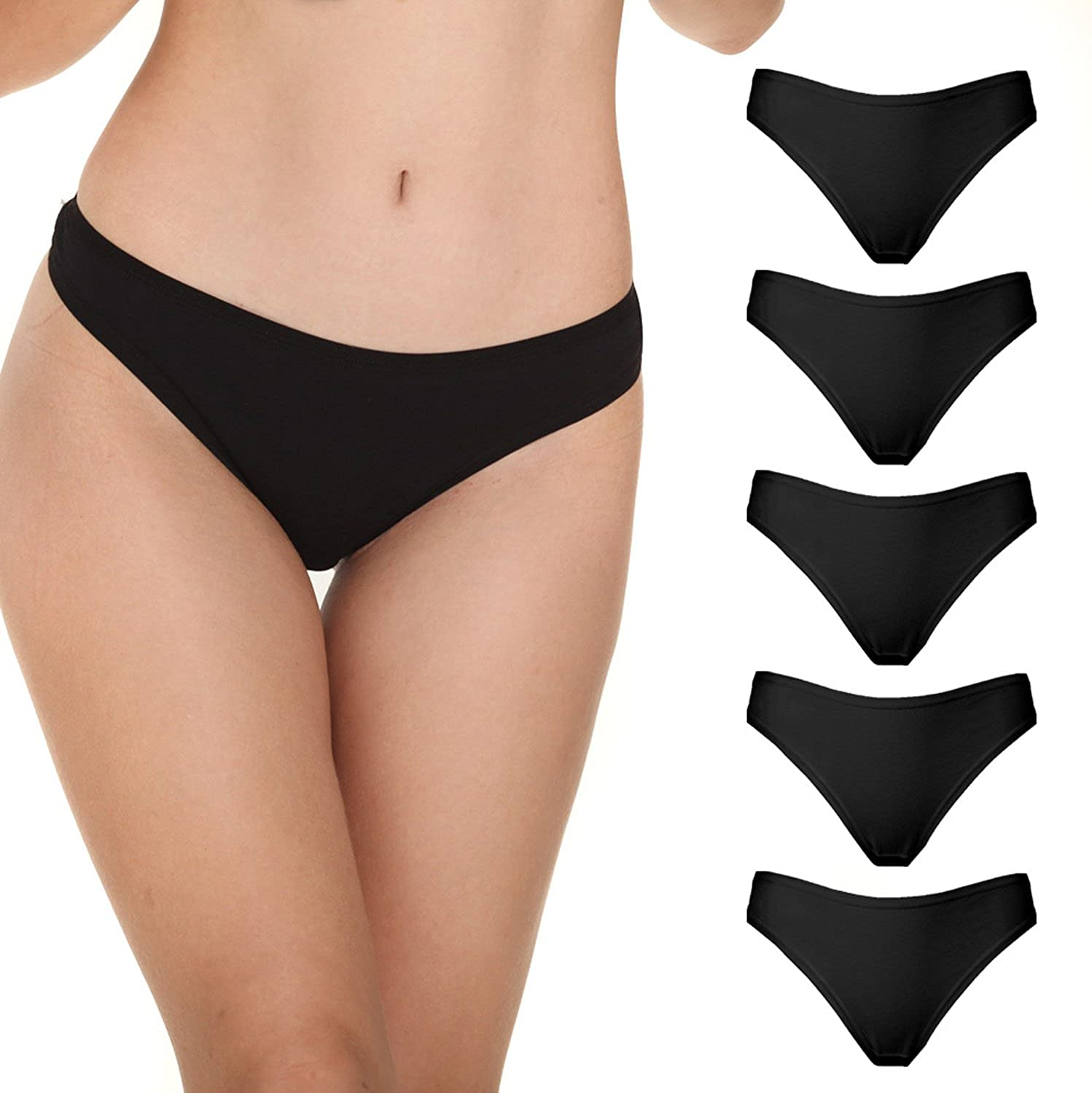Knitlord 6 Pack Womens Thongs Underwear Cotton Breathable Panties Hipster Bikini