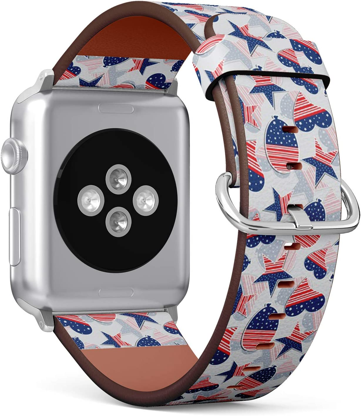 Compatible with Apple Watch (Big 42mm/44mm) Series 1,2,3,4 - Leather Band Bracelet Strap Wristband Replacement - 4Th July American