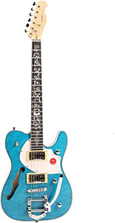 Amazon _ ZUWEI エレキギター teleテレキャスタータイプ カスタムシリーズ 花インレイブルー _ エレキギター _ 楽器